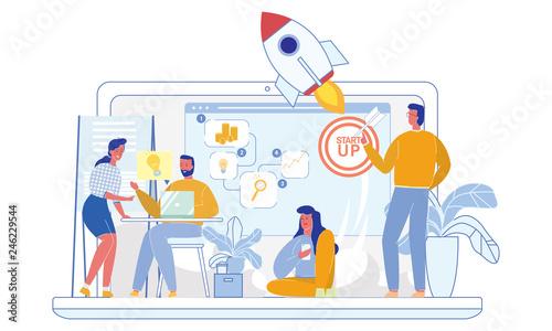 Business Rocket Launching Web Marketing Startup.