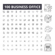 Business office editable line icons, 100 vector set on white background. Business office black outline illustrations, signs, symbols