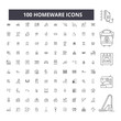 Homeware editable line icons, 100 vector set on white background. Homeware black outline illustrations, signs, symbols