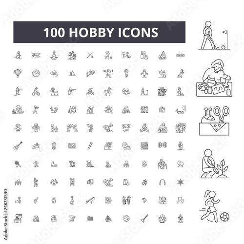 Hobby editable line icons, 100 vector set on white background Fototapete