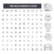 Multimedia editable line icons, 100 vector set on white background. Multimedia black outline illustrations, signs, symbols