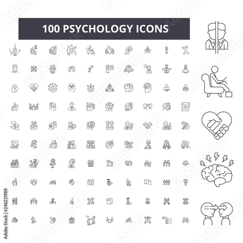 Fototapeta Psychology editable line icons, 100 vector set on white background