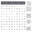 Search engine marketing editable line icons, 100 vector set on white background. Search engine marketing black outline illustrations, signs, symbols