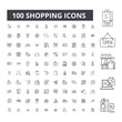 Shopping editable line icons, 100 vector set on white background. Shopping black outline illustrations, signs, symbols