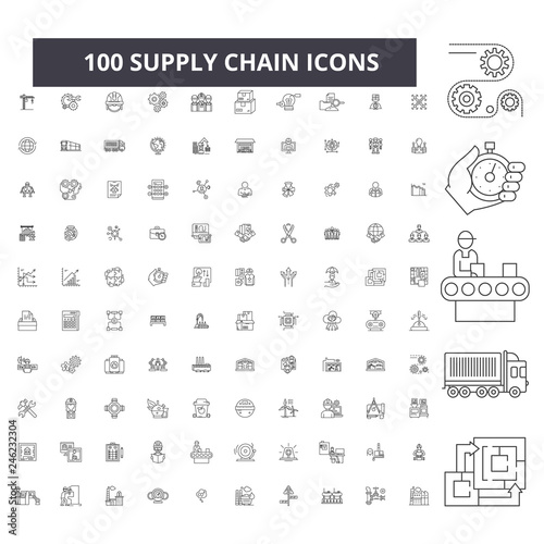 Supply chain editable line icons, 100 vector set on white background Wallpaper Mural