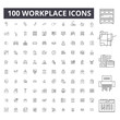 Workplace editable line icons, 100 vector set on white background. Workplace black outline illustrations, signs, symbols