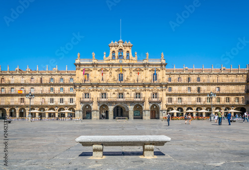 People are strolling through Plaza Mayor at Salamanca, Spain