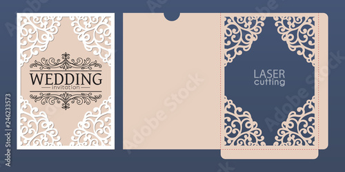 Fototapeta Laser Cut Wedding Invitation Card Template Vector Pocket Envelope With Abstract Ornamental Frame Open Card Suitable For Greeting Cards
