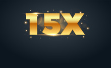 15x Multiply Number In Gold Le...