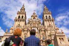 Santiago De Compostela Cathedral Church  In Galicia, Spain