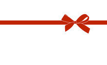 Decorative Red Bow With Horizontal  Ribbon Isolated On White. Vector Gift Bow With Red Ribbon For Page Decor.