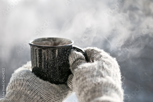 Cafe Woman hands holding hot cup coffee, tea