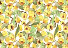 Estampados Florales De Tulipanes Amarillos Para Papel Tela O Fondos