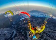 Paraglider Tandem Flying Over ...