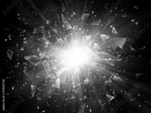 Foto Shards of broken glass. Abstract explosion. Vector illustration