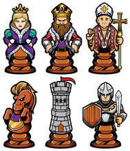 Chess Pieces Mascot Set