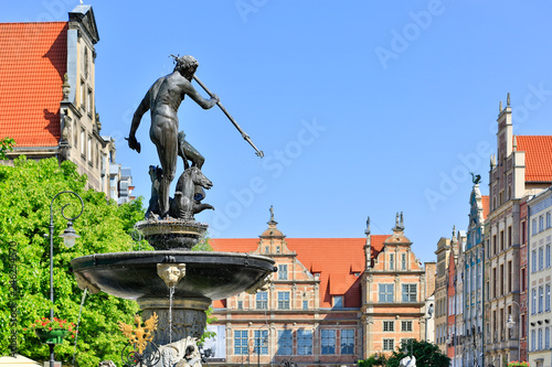 Photo  Gdansk Dluga Street and Neptun Fountain
