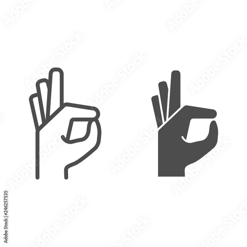 Obraz Gesture okay line and glyph icon. Ok hand gesture vector illustration isolated on white. Yes symbol outline style design, designed for web and app. Eps 10. - fototapety do salonu
