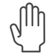 Hand with open fingers line icon. Arm gesture vector illustration isolated on white. Five fingers up outline style design, designed for web and app. Eps 10.