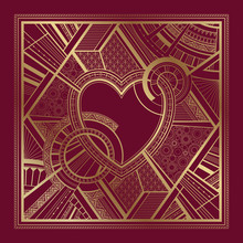 Gold And Burgundy Card With Heart And Art Deco Geometric Ornament