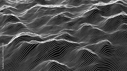 Spoed Foto op Canvas Grijze traf. Futuristic wireframe landscape background. Vector digital illustration from wave white lines. Geometric abstraction.
