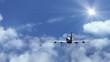The plane flies in the clouds, loop video Cinemagraph