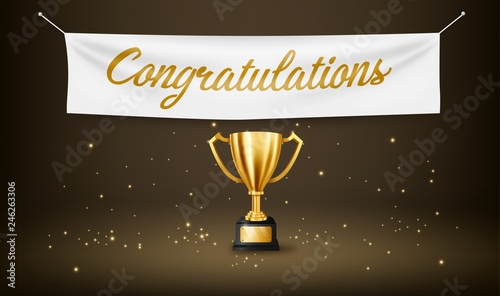 Fotomural Realistic Golden Trophy with text space and Congratulations text on textile bann