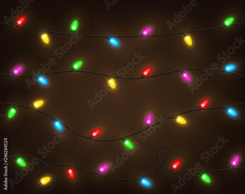 Fotomural Set of color garlands, festive decorations