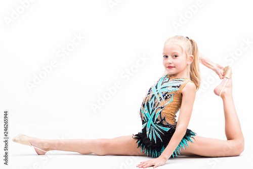 Poster de jardin Gymnastique Beautiful teen girl doing rhythmic gymnastics exercises. White background