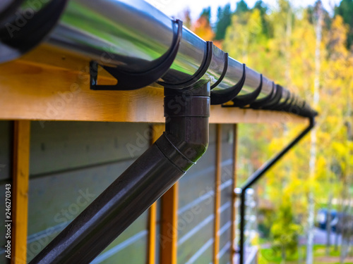 Fotografie, Obraz Holder gutter drainage system on the roof