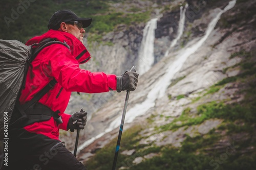 фотографія  Caucasian Hiker on a Trail