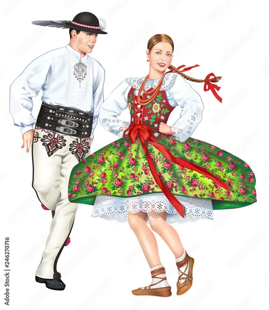 Fototapeta Dancing Polish Highlanders