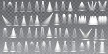 Scene Illumination Collection, Glowing  Transparent Studio Light Effects. Bright Lighting With Spotlights. Vector Illustration