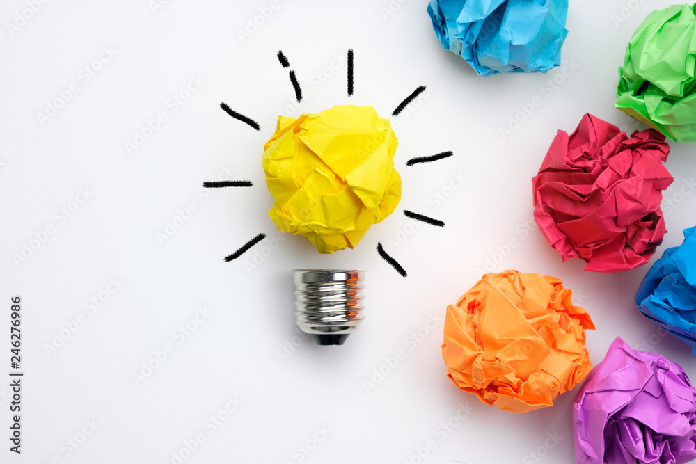 Fototapety, obrazy: Great idea concept with crumpled colorful paper and light bulb on white background