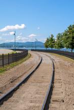 Railroad Tracks In Lake Memphramegog, Vermont, USA