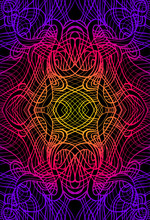 Psychedelic Abstract Trippy Colorful Fractal, Gradient Neon Color Outline, With Black Background. Decorative Element Flower Pattern.