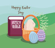 happy easter day card with cute rabbit and holy bible