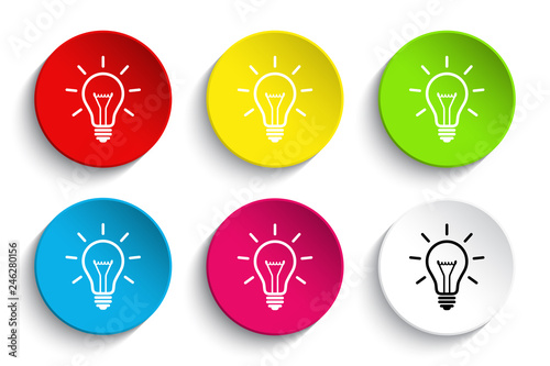 Fényképezés Light bulb icon button set
