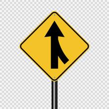 Symbol Lanes Merging Right Sign On Transparent Background