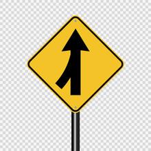 Symbol Lanes Merging Left Sign On Transparent Background