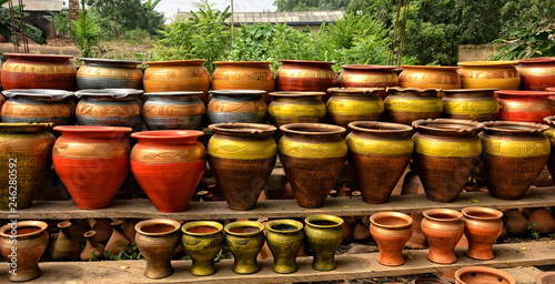 Photo Clay pots stacked for sale on African roads