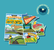 Illustrated Pictorial Map Of Midwest United States. Includes North And South Dakota, Nebraska, Minnesota, Iowa And Wisconsin. Vector Illustration.