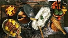 Cutting Meat, Brazilian Dish Typical Of Brazilian Cuisine
