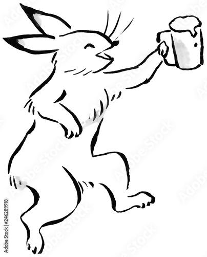 Fényképezés  ビールジョッキを持つウサギ