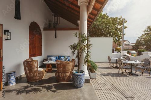 Fototapeta Interior of beautiful luxury tropical hotel in Sri Lanka outdoor obraz