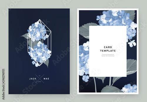 Valokuvatapetti Floral wedding invitation card template design, blue hydrangea flowers in white