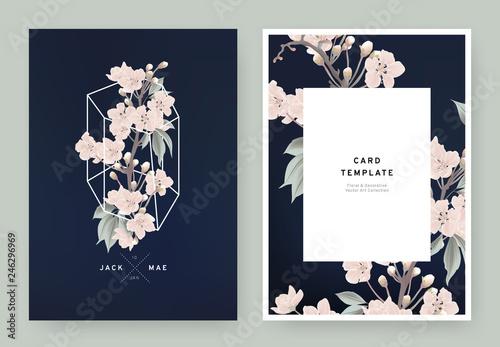 Floral wedding invitation card template design, pink sakura flowers in white polygon shape on dark blue background, pastel vintage style