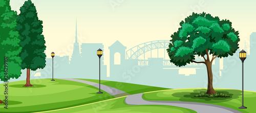 A nature urban park landscape