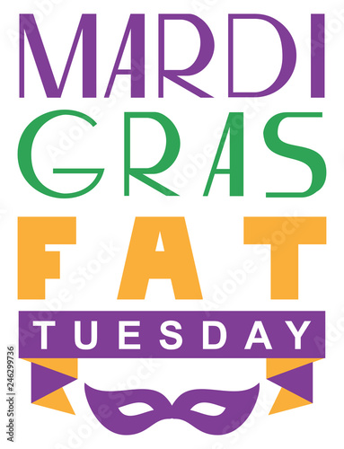 Fototapeta Mardi gras fat tuesday lettering text greeting card