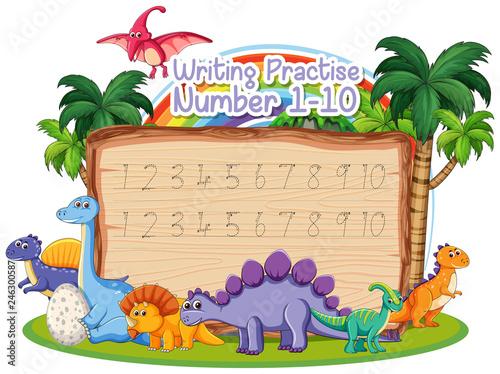 Staande foto Kids Writing number practice dinosaur theme